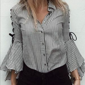 Button down blouse w lace up flared sleeves